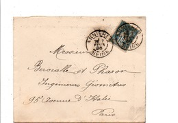 SAGE SUR LETTRE DE ASNIERES 1896 - Marcophilie (Lettres)
