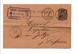 ENTIER SAGE CASTRES TARN 1890 - Marcophilie (Lettres)