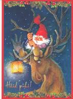 Elf - Gnome - Brownie Sitting On The Hornes Of Moose - Gracia Arias / Juan Vernet - AB Pictura - Navidad