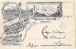 1895 ZERMATT - HOTELS SEILER : Hôtel Du MONT CERVIN, Hôtel RYFFELLALP, Hôtel Du MONT-ROSE, Buffet De La Gare - Lithograp - VS Valais