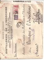 2 Lettres De Saigon Pour La France 1940 Distilleries De L Indochine Par Bateau Via Madagascar 1 Avec Censure Britannique - Indochine (1889-1945)