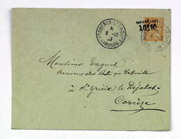 Lettre 1909 Bordeaux St Projet --> St Yreix Le Déjalat, Entier Postal Mouchon 15c Surchargé Taxe Réduite 10c - Francia