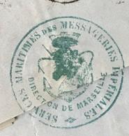 Lettre Marseille 1866 Timbre Napoléon N°22 Losange GC Services Maritimes Des Messageries Impériales - 1849-1876: Période Classique