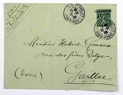 Lettre 1906 Bordeaux St Projet --> Gaillac, Entier Postal Semeuse 15c Surchargé Taxe Réduite 10c - Francia