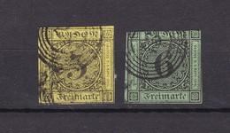Baden - 1851/52 - Michel Nr. 2/3 - Gest. - 80 Euro - Baden