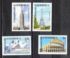 Dominica   -  1991. Empire State Building, Tour Eiffel, Operà Sydney, Colosseo. Complete MNH Series - Monumenti