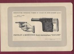 300120 - CHASSE PHOTOGRAVURE 1907 Manufacture Armes Et Cycles SAINT ETIENNE Loire PISTOLET GAULOIS - Sports