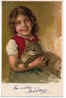 L170A607 - Très Jolie Portrait De Fillette Avec Son Chat  - Carte Précurseur - Portraits