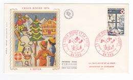 64 PAU FDC La Croix Rouge Et La Poste Secourisme En Montagne Hiver 1974 Soie Illustrateur Chesnot - FDC
