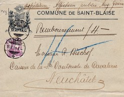 Mi 116. Commune De Saint - Blaise Nach Neuchâtel 15.V.1911 - Suisse