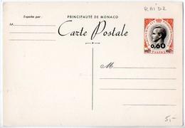 Monaco, Entier Postal : CP 025 Rainier Avec Surcharge 0,60 - Postal Stationery