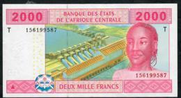 C.A.S.  LETTER T CONGO P108Ta 2000 FRANCS  2002 Signature 5  ( FIRST ) UNC. - États D'Afrique Centrale
