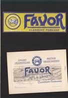 Cycles Et Motos / Favor, Clermont Ferrand / Carte De Représentant + étiquettte (décolllée De L'engin) - Cartes De Visite