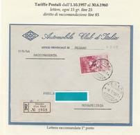 St.Post.646 - REPUBBLICA 1959 -  Lettera Racc.1°porto Da Pesaro A Novafeltria 6.7.59 - 1946-60: Storia Postale
