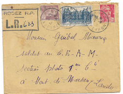 TARIF RECOMMANDE PROVISOIRE RODEZ AVEYRON 1947 - Posttarife