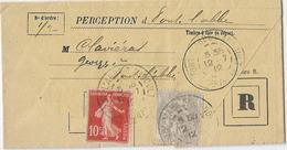 TARIF RECOMMANDE 11C PONT L'ABBE D'ARNOULT CHARENTE MARITIME 1912 - Posttarife