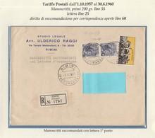 St.Post.648 - REPUBBLICA 1959 -  Manoscritti Con Lettera Racc. Da Rimini A Novafeltria 3.11.59 - 6. 1946-.. Repubblica