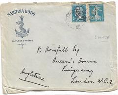 TARIF ETRANGER LETTRE AOUT 1926 POUR ANGLETERRE 1.25 DUREE 6 MOIS - Posttarife