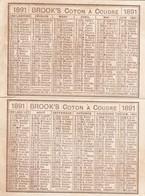 - Très Beau Petit Calendrier 1891 BROOKS, Coton à Coudre - Calendriers