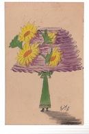CPA Illustrateur Style Mouton Ou Roberty - Femme Avec Chapeau Géant - Carte Peinte Signée En 1909 - Autres Illustrateurs