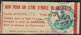 """Coupon D'achat 1944 Dijon ( Cote-de-Or ) """" Bon Pour Un Litre D'huile De Graissage """" Carte Ravitaillement F - Specimen"""