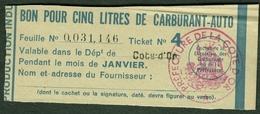 """Coupon D'achat 1944 Dijon ( Cote-de-Or ) """" Bon Pour Cinq Litre D' Carburant Auto """" Carte Ravitaillement G - Specimen"""