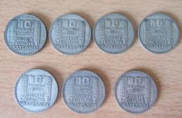 France - Lot De 7 Monnaies 10 Francs Turin 1929 à 1933 En Argent - Achat Immédiat - K. 10 Francs