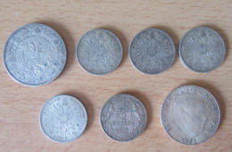 Autriche + Hongrie - Lot De 7 Monnaies En Argent Dont 5 Coronae 1909 Et 50 Shilling 1971 - Achat Immédiat - Autriche