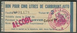 """Coupon D'achat 1944 Dijon ( Cote-de-Or ) """" Bon Pour Cinq Litre D' Carburant Auto ALCOOL"""" Carte Ravitaillement H - Specimen"""