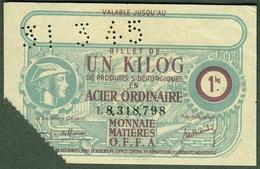 """Coupon D'achat 1945 """" Un Kilog Acier Ordinaire """" Carte Ravitaillement I - Specimen"""