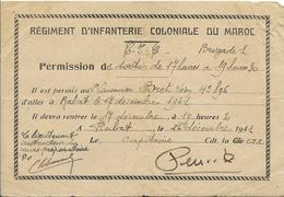 Rgt D'Infanterie Coloniale Du Maroc- Billet De Permission 1941 - Documents Historiques