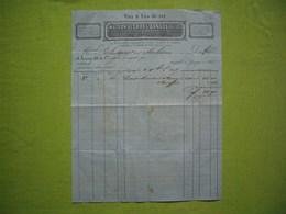 Facture1865 Vins Et Eaux De Vie Maison De Gros Sauret & Fils à Ganges - Francia