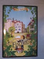 Plaque En Toles  .biere Fischer Alsace . Superbe Pour Deco - Plaques En Tôle (après 1960)