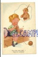 """Petite Fille Qui Tricote En Pensant à Un Soldat. """"Pour Mon Petit Kaki ... ! Signée Henry - Humour"""
