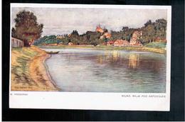 LITHUANIA  ART Signed, M. Trzebinski Wilno, Wilja Pod Antokolem Ca 1920 Old Postcard - Lituanie