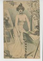 """Illustrateur H. BOUTET - Jolie Carte Fantaisie Femme Nue """"MODELES D'ARTISTES """" - Boutet"""