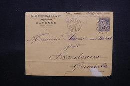 GUYANE - Enveloppe Commerciale De Cayenne Pour Bordeaux En 1890, Affranchissement Alphée Dubois - L 51672 - Guyane Française (1886-1949)