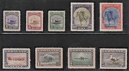 1945 Greenland New York Definitives: Seal, Polar Bear, Eider, King, Canoeing, Dog Sled Set (* / MH / MM) - Unused Stamps