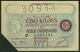 """Coupon D'achat 1944 """" Cinq Kilogs Acier Ordinaire """" Carte Ravitaillement J - Fiktive & Specimen"""