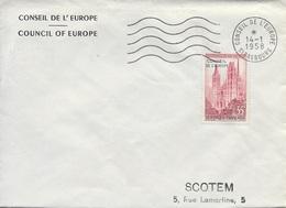 TIMBRE N° 17 SERVICE  -   CONSEIL DE L'ZUROPE - TARIF DU 1 7 57 AU 5 1 59 -  1958- LETTRE 2e ECHELON - FLAMME STR 352 S - Posttarife