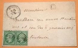 """T22 """"MONDONVILLE 1866"""" (30 Haute Garonne) + GC 2396 Affr. Yv 20 X2 Lettre RARE  > Toulouse (France Cover - 1849-1876: Période Classique"""