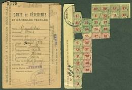 """Coupon D'achat 1944 Fismes ( Moselle ) """" Carte De Vetements Et D'Articles Textiles Avec Annexe """" Carte Ravitaillement P - Fictifs & Spécimens"""