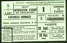 """Coupon D'achat 1944 """" Billet Autorisation D'Achat De Chaussures Pantoufles Normales 27+ """" Carte Ravitaillement Q - Fictifs & Spécimens"""