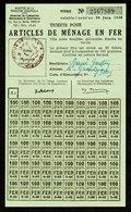 """Coupon D'achat En Gros 1948 Cluny (Cote-de-Or) """" Articles De Menage En Fer 50x100gram """" Carte Ravitaillement R - Fictifs & Spécimens"""