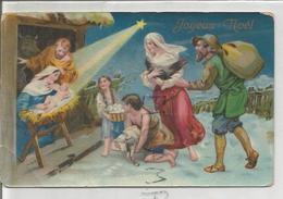 Sainte Famille à La Crèche. Bergers, Poule, Panier D'œufs, Agneau. Glacée Et Dorée. - Christmas