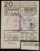 """Coupon D'achat 1944 Cluny (Cote-de-Or) """" Chaussures Usage Ville Pour Enfants 28+ """" Carte Ravitaillement R - Specimen"""