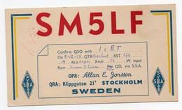 SWEDEN STOCKHOLM  - CB RADIO - Radioamatore - Radioamateur - QSL - Short Wave - Carte QSL