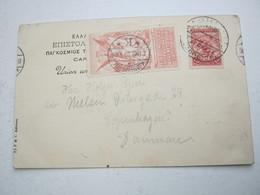 ATHEN , 1906 , Olympiade Vignette Auf Karte  Nach Dänemark - Ete 1896: Athènes