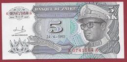 Zaïre 5 Nouveaux Makuta Du 24/06/1993----UNC - Zaïre