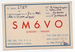 ALINGSAS SWEDEN SVEZIA - STOCKHOLM STOCCOLMA - CB RADIO - Radioamatore - Radioamateur - QSL - Short Wave - Carte QSL